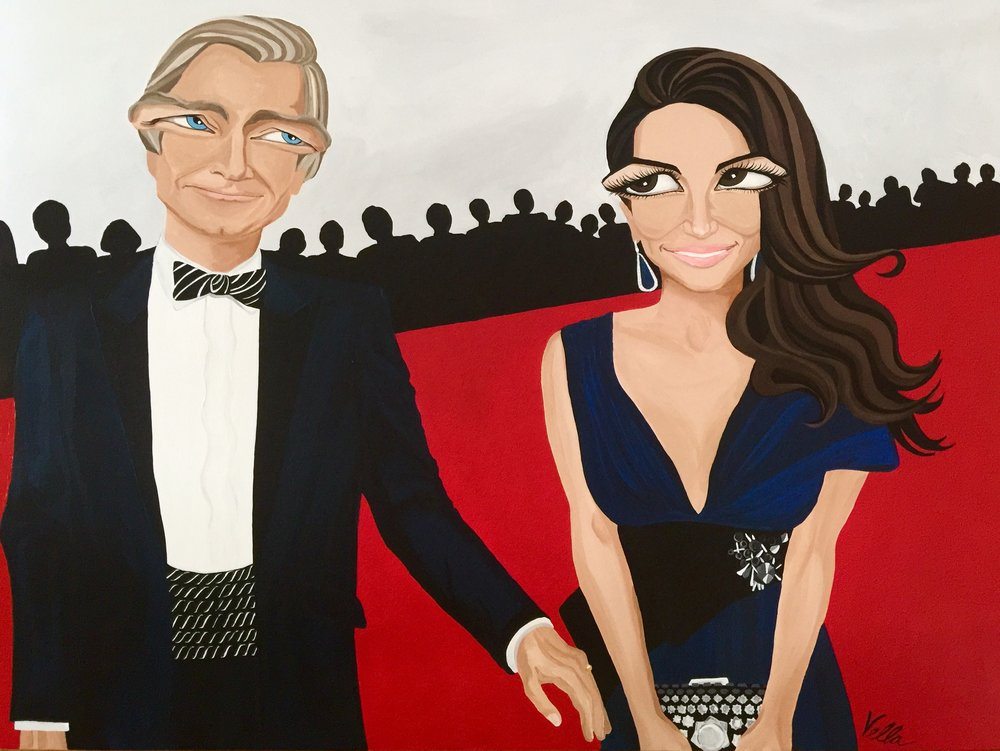 PORTRAIT, The Paterson's at the EMMY's, 36x48 acrylic on canvas