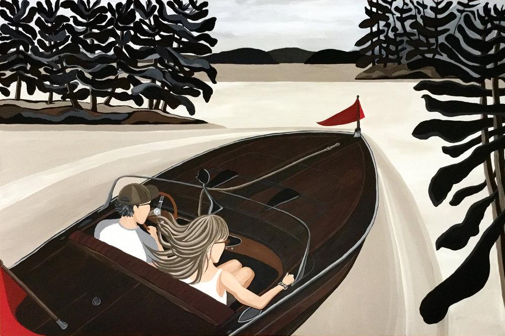 "FLASH, Lake Joseph 48""x56"" acrylic on canvas 2016"