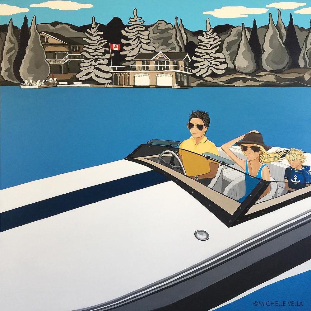 "Family on Lake Joseph, Muskoka - DONZI - Acrylic on canvas, 48""x48""2017"