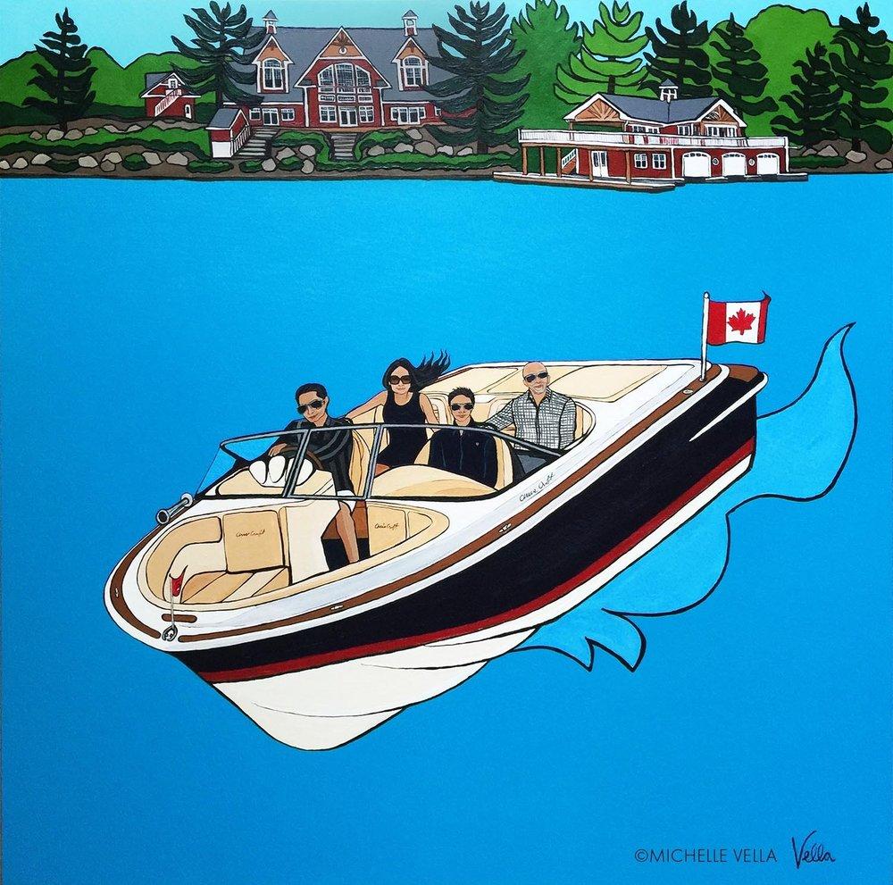 "Family Portrait on Lake Muskoka, Chris Craft Launch 25 - Acrylic on canvas, 36""x 36"" 2017"