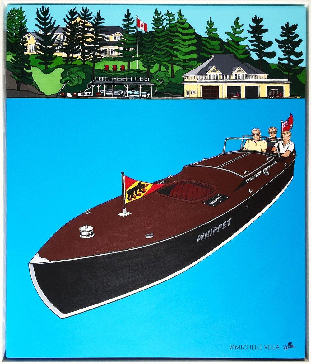 "FAMILY PORTRAIT: The Whippet, Lake Rosseau, Muskoka, Ontario, Canada - Acrylic on canvas, 34""x 40"" 2017"