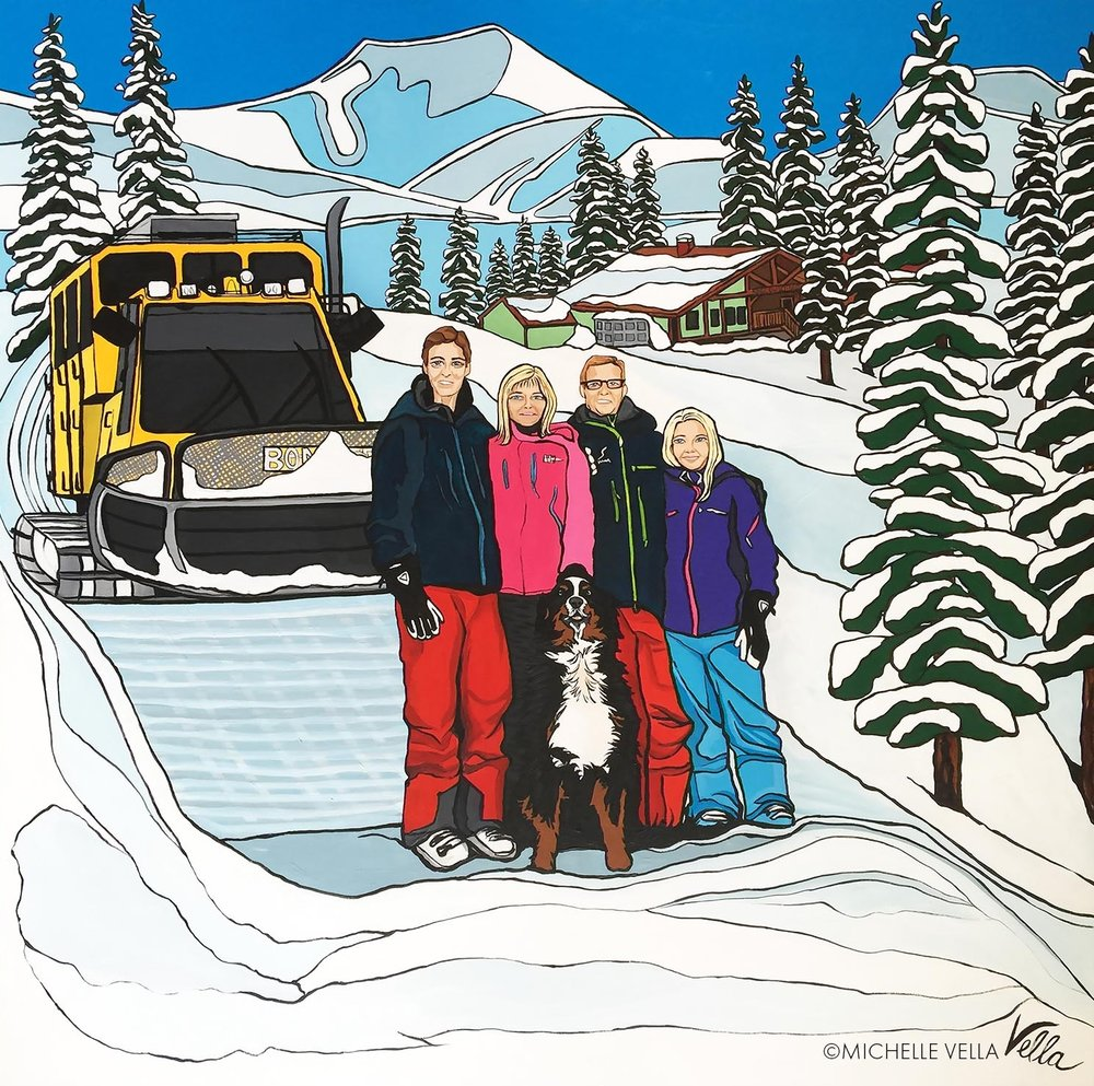 """FAMILY PORTRAIT: The Ozak's, Owners of Selkirk Cat Skiing Lodge, British Columbia - Acrylic on canvas, 36""""x 36"""" 2017"""