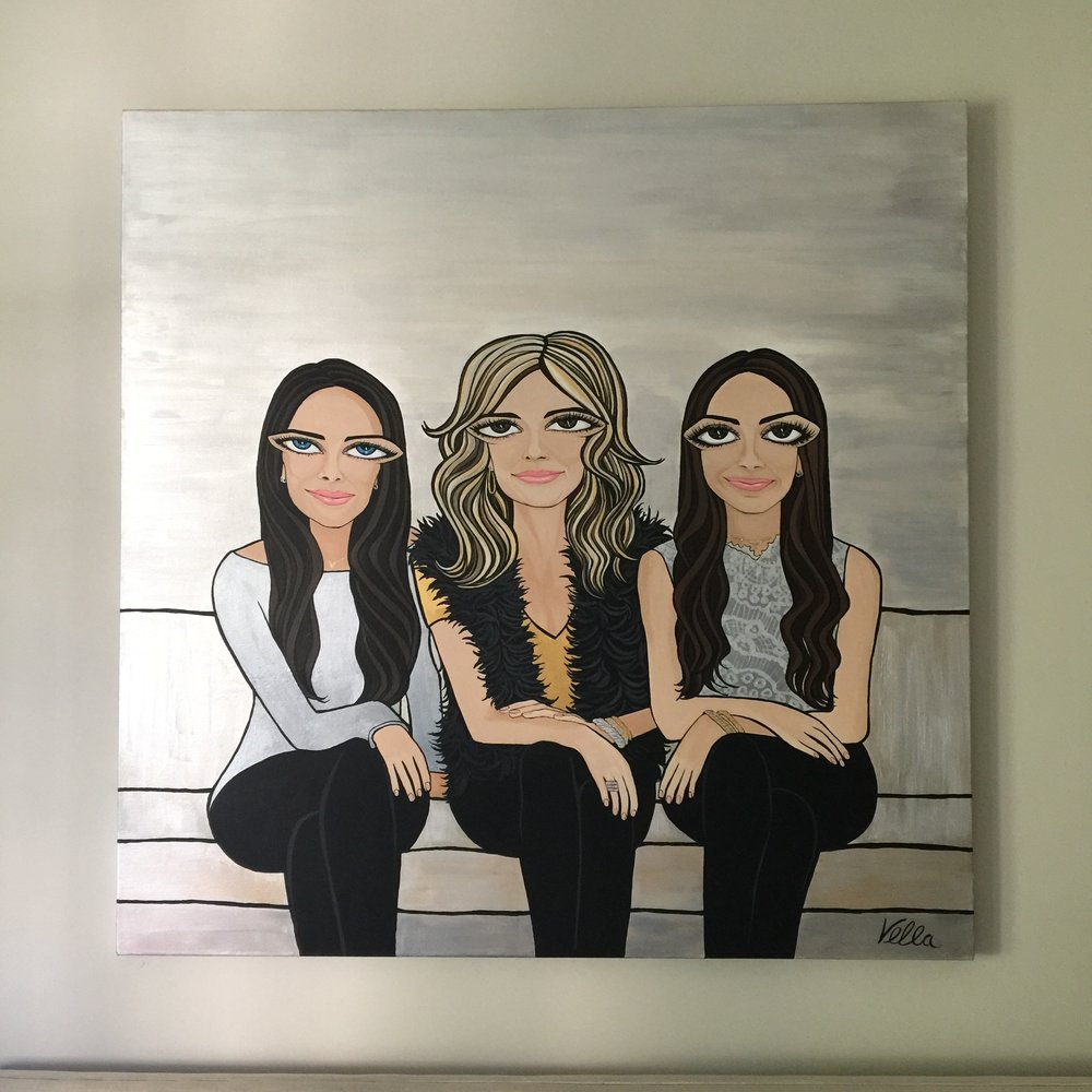 """MOM AND HER GIRLS, Acrylic on canvas, 60""""x60"""" 2017"""