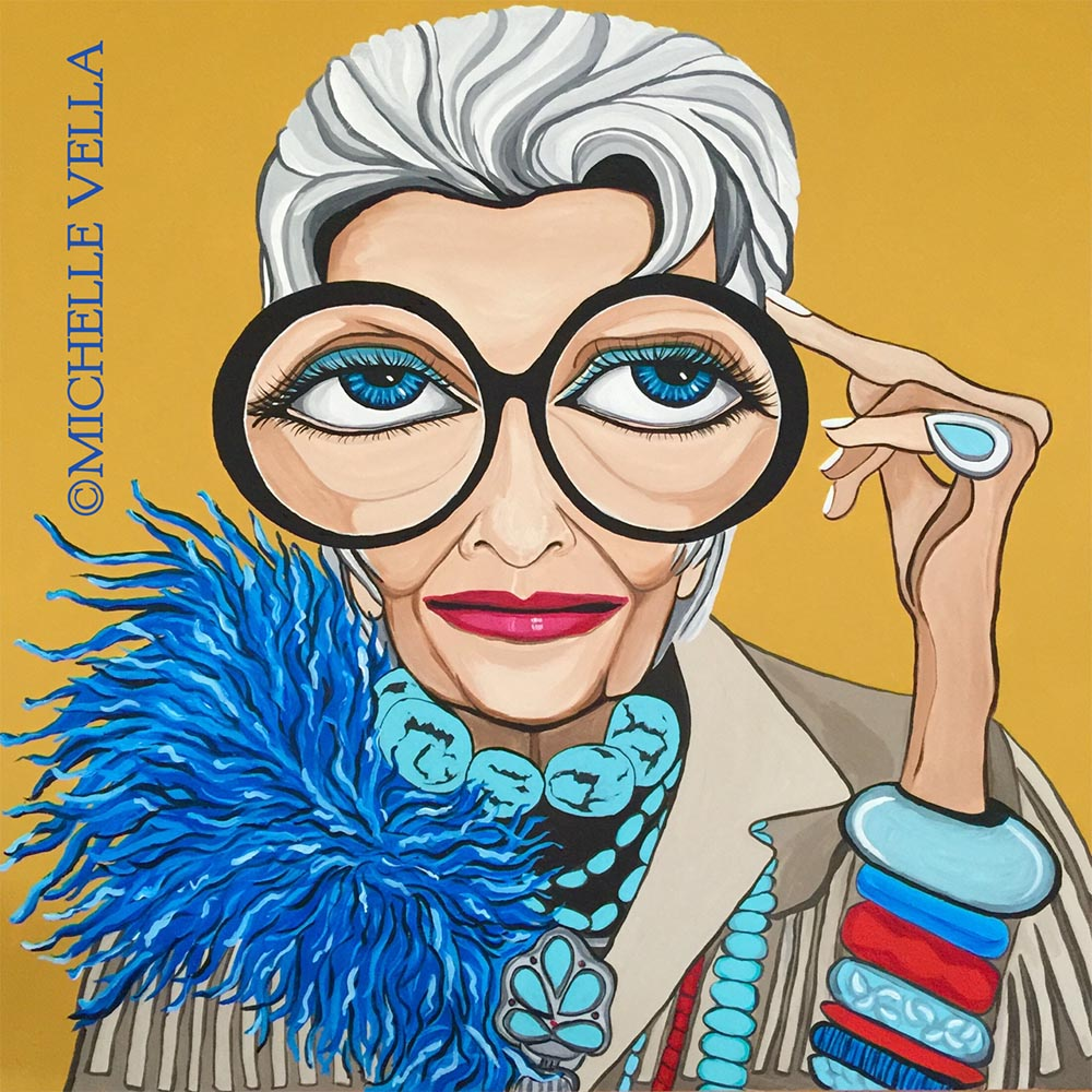 "IRIS APFEL, Acrylic on canvas, 30""x30"" 2017"