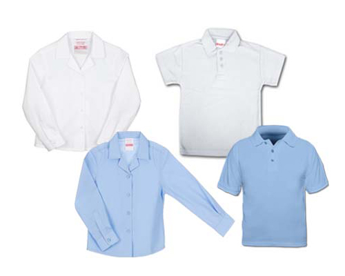 White/blue polo shirts or white/blue iron shirts, long or short sleeves.