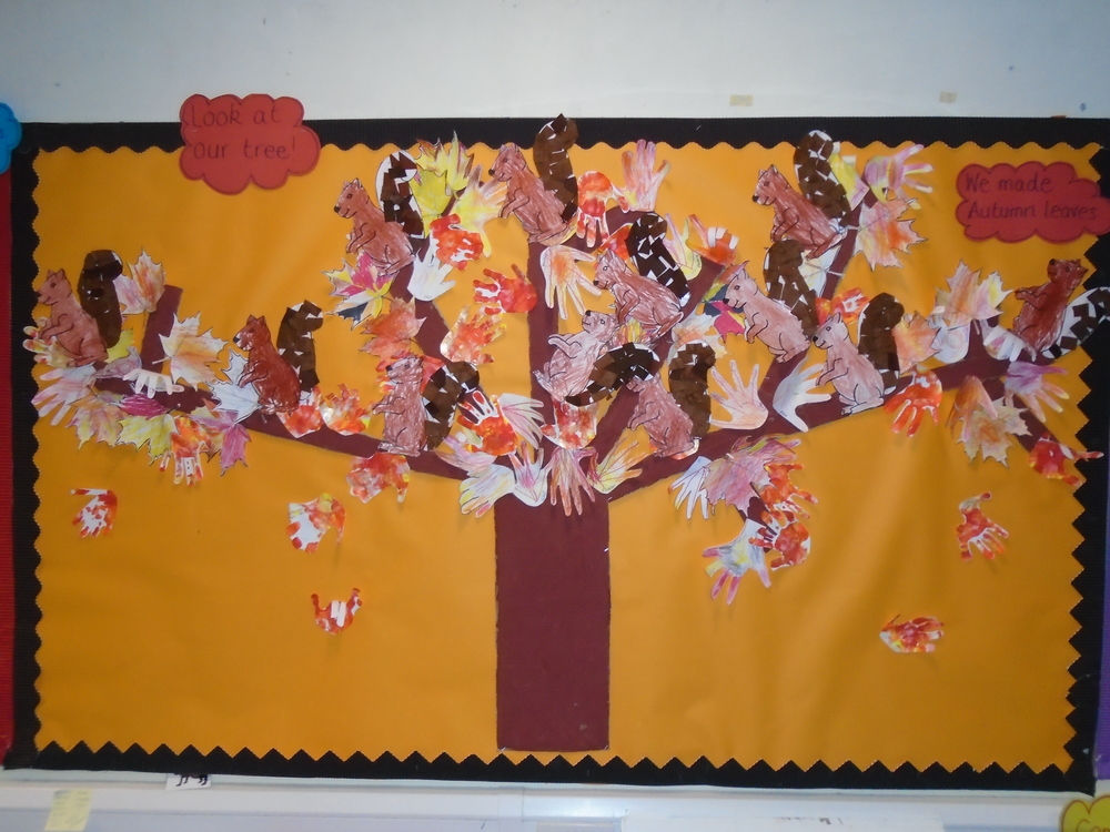 We learnt all about what happens to the trees in Autumn. Can you see the colours the leaves change?