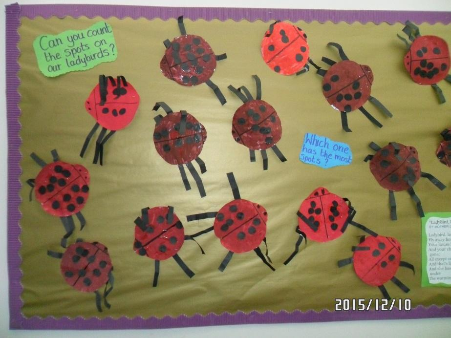 Ladybirds, made by Ladybirds class! We enjoyed counting the spots and the legs.