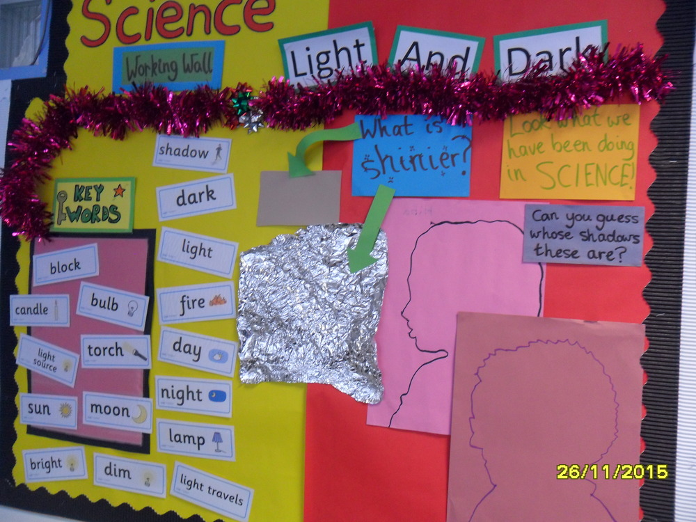 We learned about light and dark in science. We know that some things, like the sun and light bulbs, make light and that shiny things reflect light. When there is no light it is dark. Shadows are made when light is blocked.