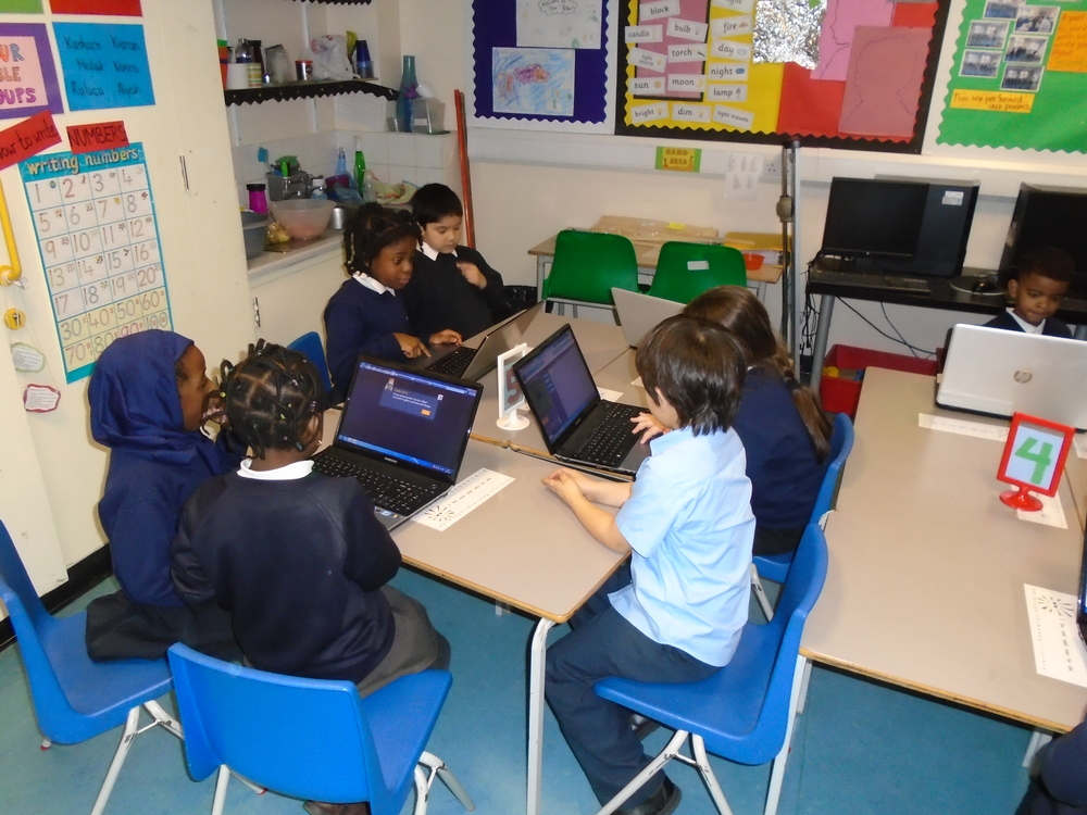 We practiced coding in computing. We had to make algorithms, which we know are instructions that a computer follows, to make characters in a game move.