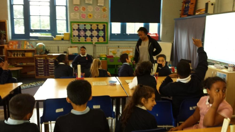 Angelica asked the children questions to put to Miriam Makeba, who was sitting in the hot seat!