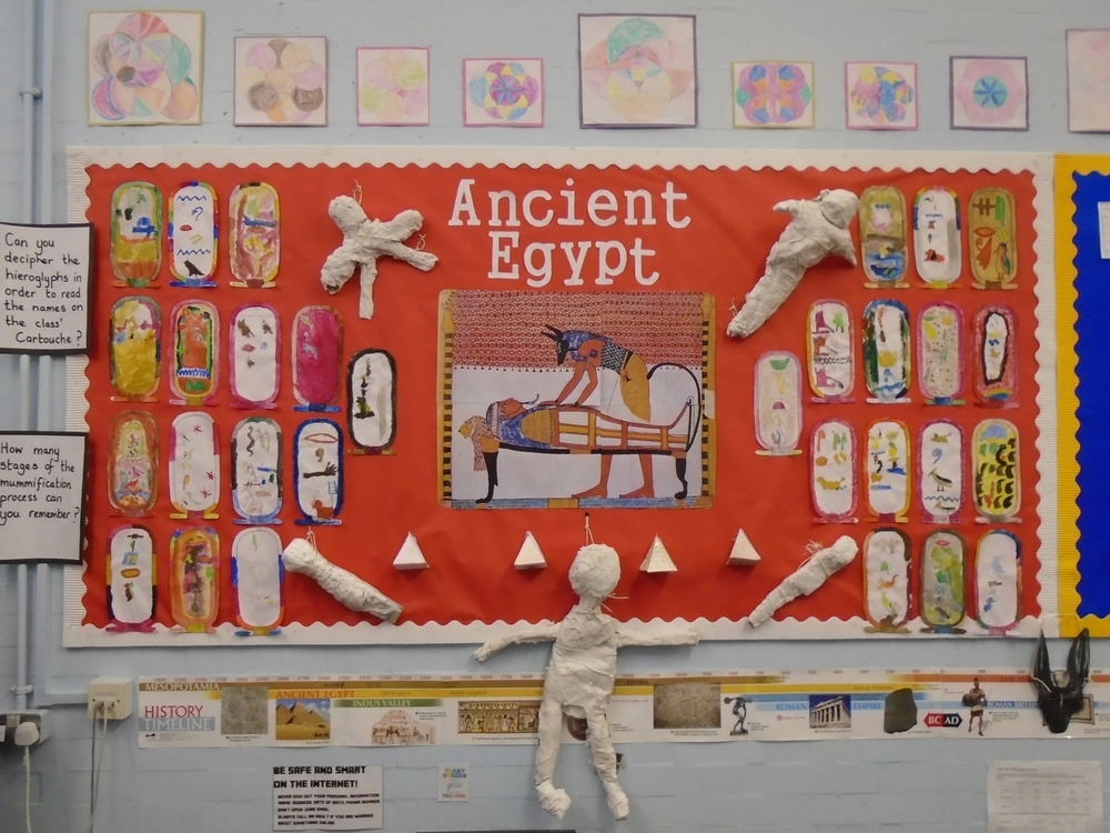 One of our favourite topics so far has been Ancient Egypt. We made cartouches with hieroglyphics and mummies out of plaster of paris.