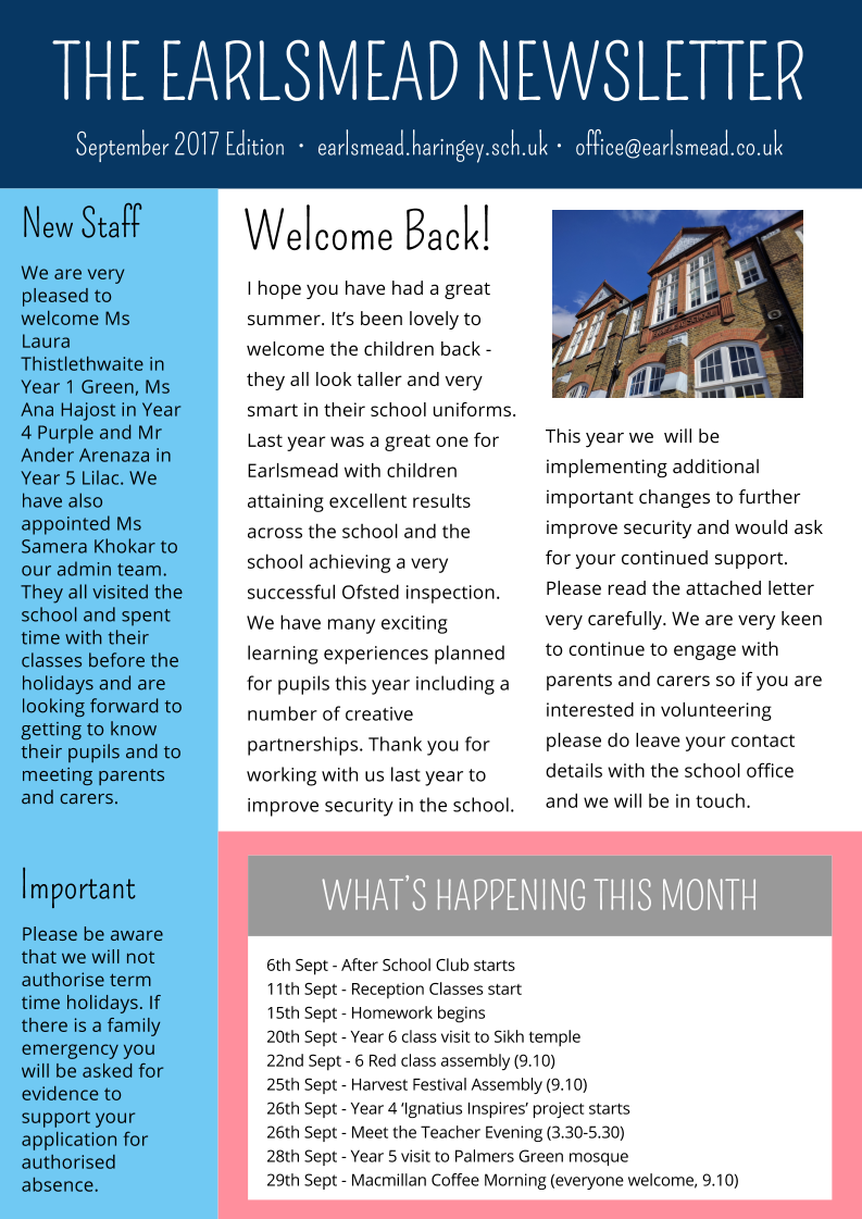 Our September Newsletter  Earlsmead Primary School