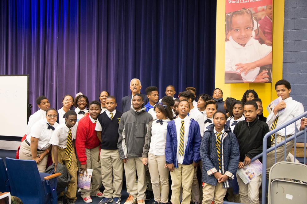 Picture of Graham with Woodridge students. Taken byKhaleel Etheridge.