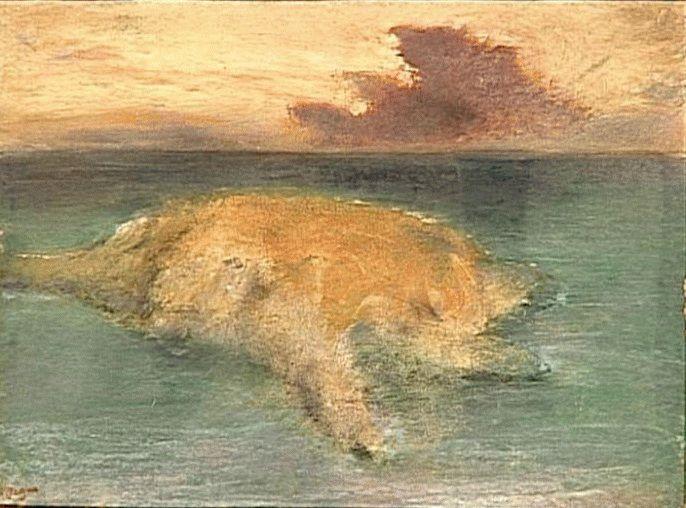 Un îlot en pleine mer, c. 1890 Monotype in oil colors, heightened with pastel, 29.8 x 40 cm