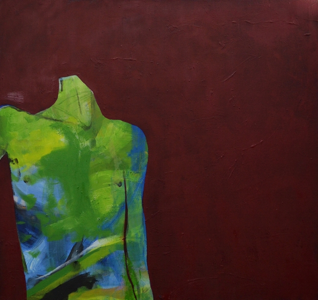 Figure with red background, 2017