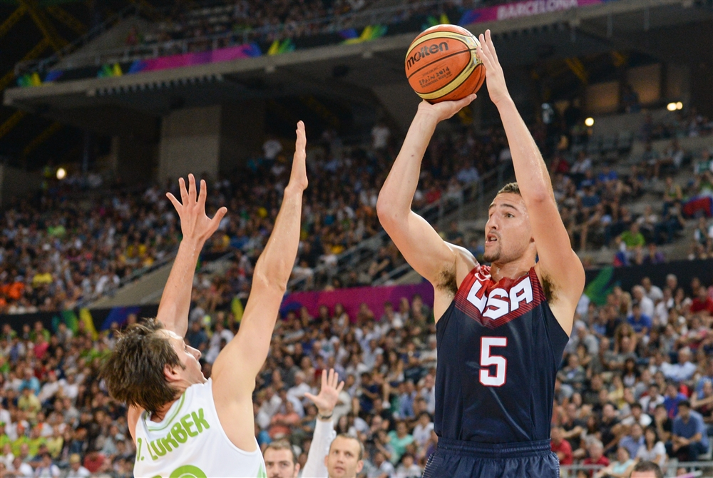 Klay Thompson came off the bench to lead team USA with 20 points as they blew out Slovenia.
