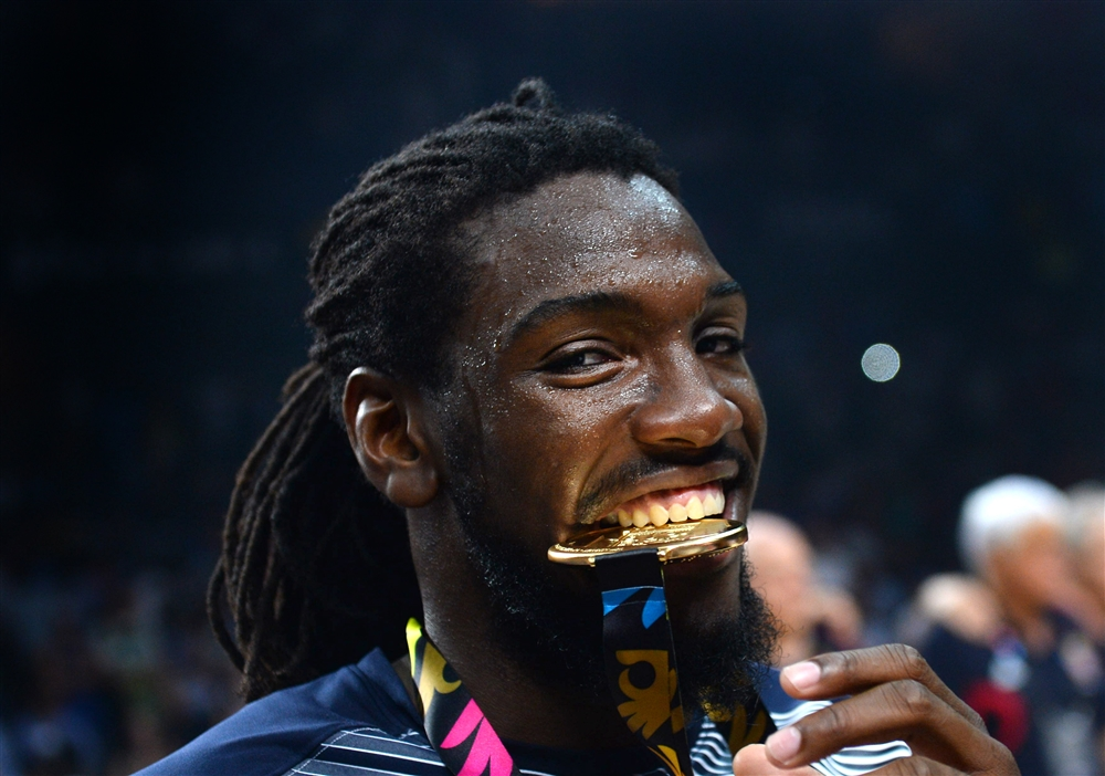 Kenneth Faried is all smiles after winning gold.