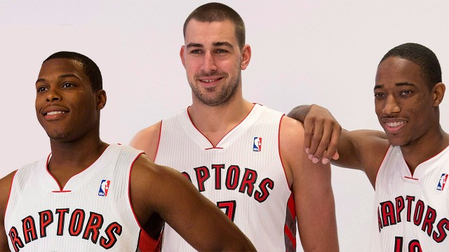 Kyle Lowry, Jonas Valanciunas and DeMar DeRozan all smiles during Media Day