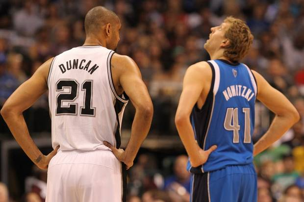 Expect another great battle between Tim Duncan and Dirk Nowitzki.