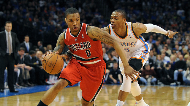 Russell Westbrook leads the shorthanded Thunder into Portland to face Damian Lillard and the Blazers.