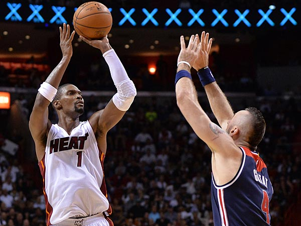 Chris Bosh is averaging 28 ppg and 11.5 rpg for the undefeated Miami Heat.