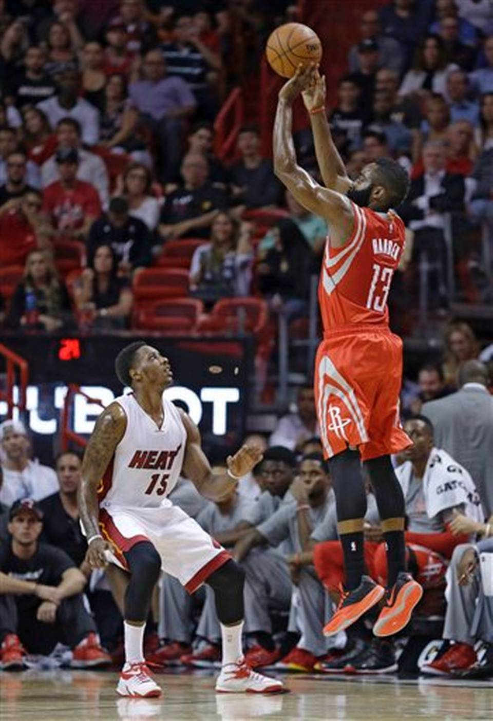 James Harden knocks down the jumper over Chalmers. Harden has more made free throws than field goals this season.