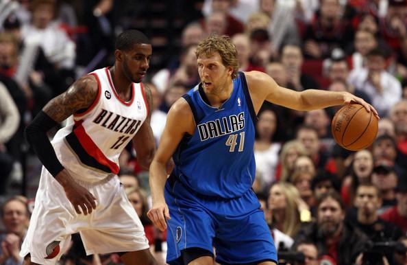 Dirk Nowitzki leads the Mavericks into Portland to take on LaMarcus Aldridge and the Blazers.