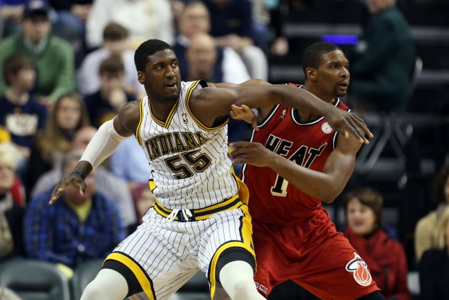 Roy Hibbert leads the Pacers into Miami to take on Chris Bosh and the Heat.