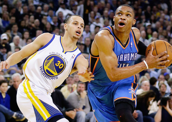 Russell Westbrook leads the red-hot Thunder into Golden State to take on the 21-3 Warriors.
