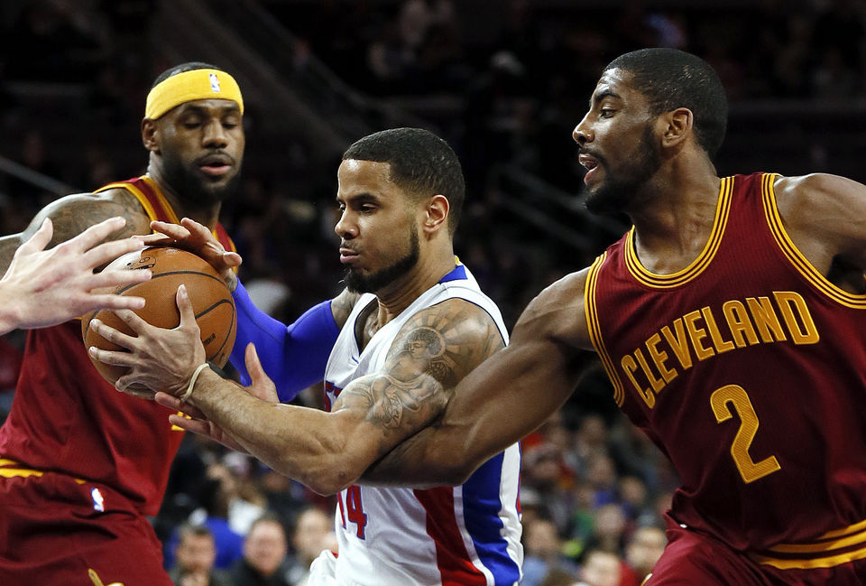 LeBron James and Kyrie Irving combined to score 70 points against the Pistons. (AP Photo/Paul Sancya)