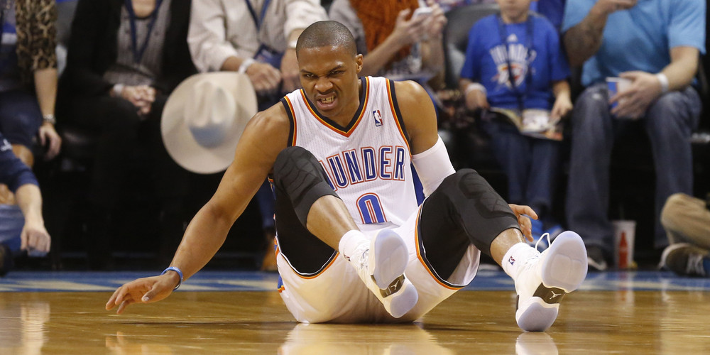 Russell Westbrook was knocked out of the 2013 playoffs.