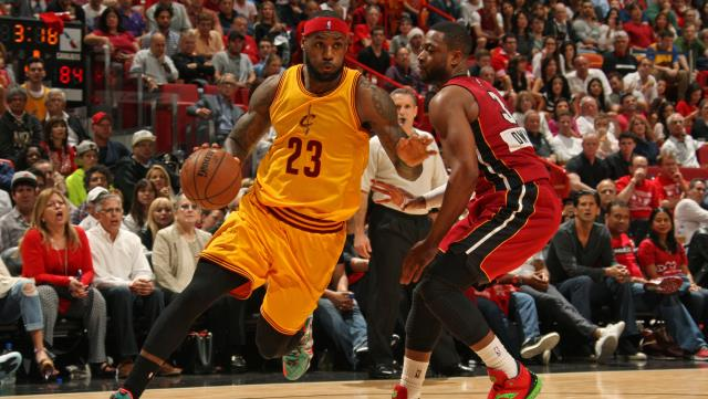 Dwyane Wade and the Miami Heat travel to Cleveland to take on LeBron James in the Cavs home opener.