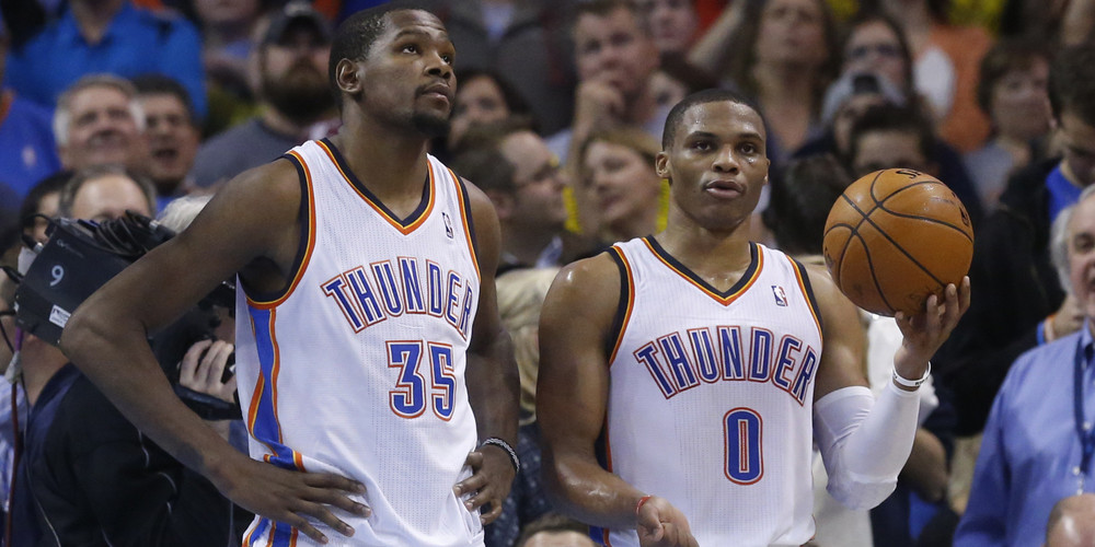 Kevin Durant and Russell Westbrook combined for 55 points on opening night.