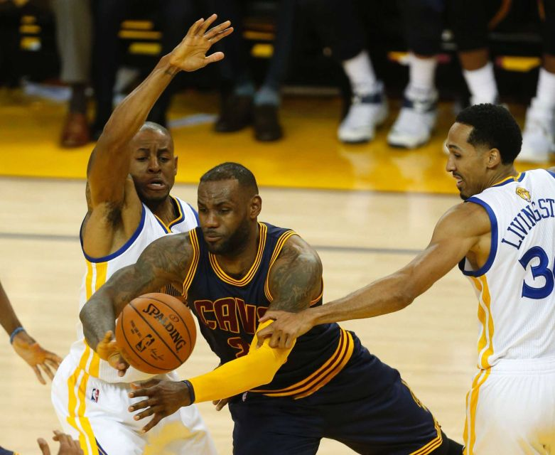 Andre Iguodala did a good job of guarding LeBron James in game 1 of the NBA Finals. (Photo Credit: Getty Images/Beck Diefenbach)