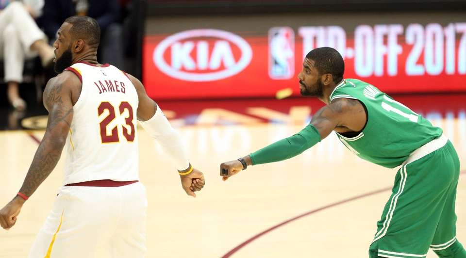 LeBron James and Kyrie Irving greet each other before the game. (Joshua Gunter, Cleveland.com)