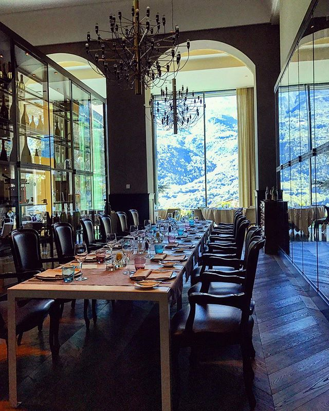 Lunch with a side of wine tasting & mountain views ✨⛰🍷🇮🇹 #SaintVincent #AostaValley #Alps #Spa #GrandHotelBillia #Italy