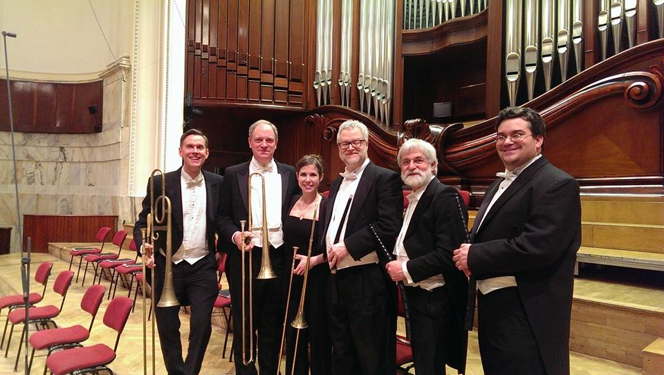 The brass section for Monteverdi Vespers in Warsaw, Poland