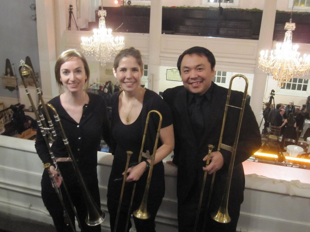 "The Trinity Baroque trombone section for Handel's ""Saul,"" New York City."