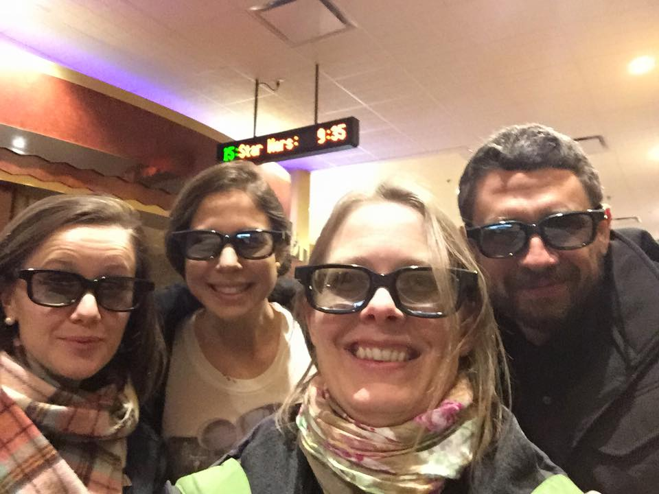 "Late night post-concert ""Star Wars: The Force Awakens"" trip with Apollo's Fire friends."