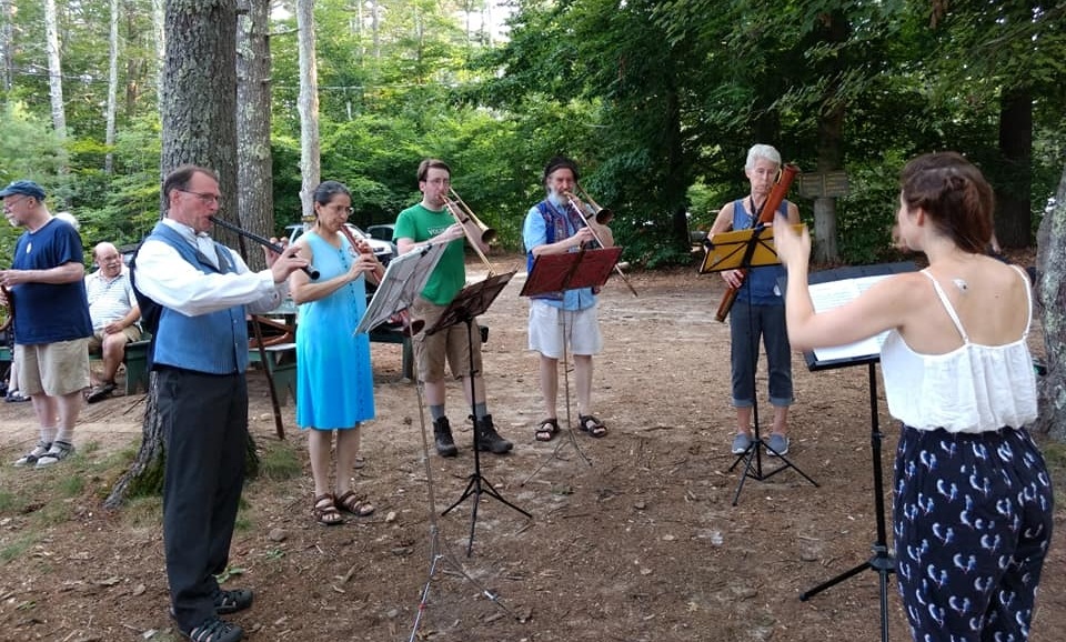 Directing an ensemble at Pinewoods Early Music Week.