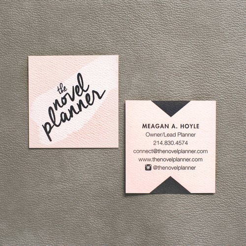 Custom business cards green apple lane graphic design services blush and slate grey square business cards on textured ivory cotton stock for the novel reheart Image collections