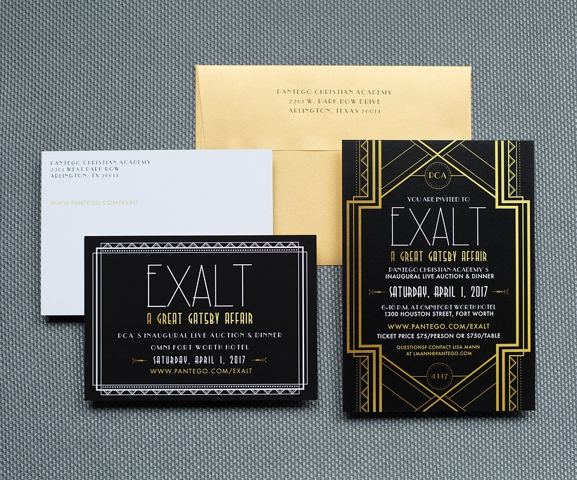 A sampling of printed collateral for PCA's EXALT Gala, created by Green Apple Lane