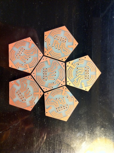 Printed, etched, cut, and sanded PCBs