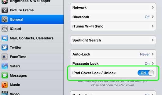 iPad 2 Lock/Unlock Settings
