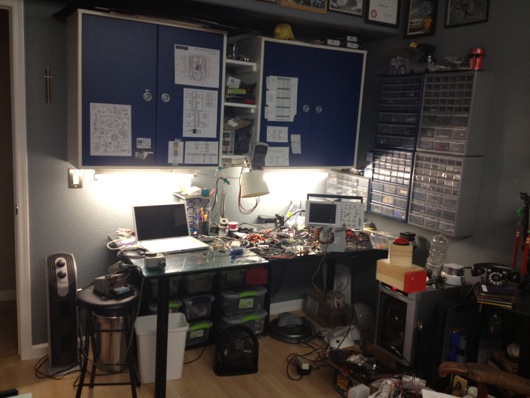 Wide shot of Andy's Electronics Workbench
