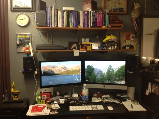 "3.4 GHz iMac 27"" with matching 27"" Cinema Display over desk"