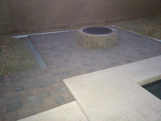 Fire pit bricking completed