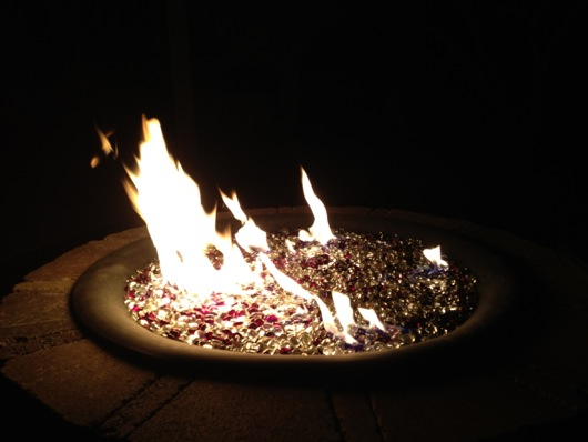 Gas fire pit operational -- FIRE!!