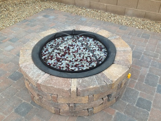 Glass fire beads in fire pan - Backyard Propane Fire Pit, Pavers And Outhouse Project