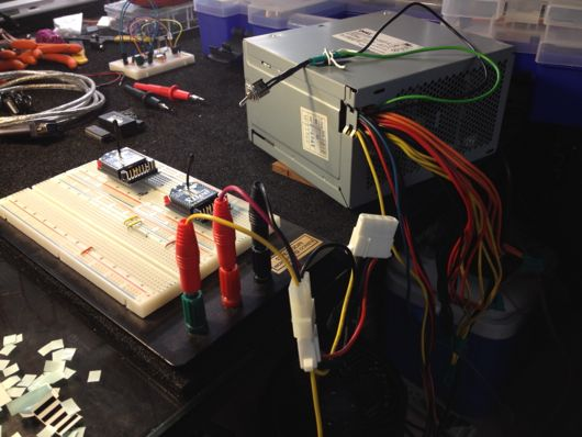 PC Power Supply Powering Breadboard